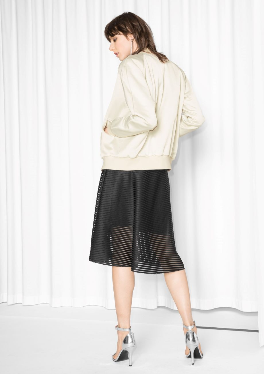 Other Stories Image 3 Of Luminous Satin Bomber Jacket In Off White Street Style Women Satin Bomber Jacket Clothes For Women [ 1300 x 920 Pixel ]