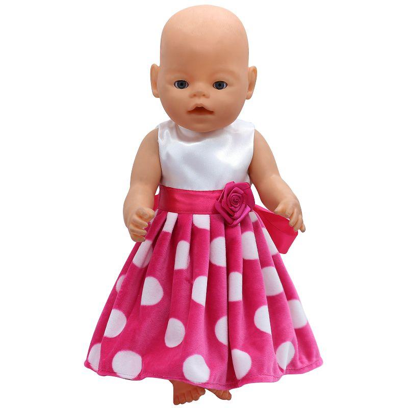 07199c20a509e4 Baby Born Pop Kleding Wit Dot Rode Jurk Fit 43 cm Zapf Geboren Baby Pop  Accessoires Verjaardagscadeau X-124