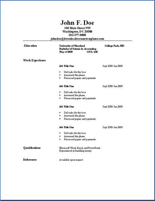 Basic Resume Outline Sample Photos  mother love  Basic