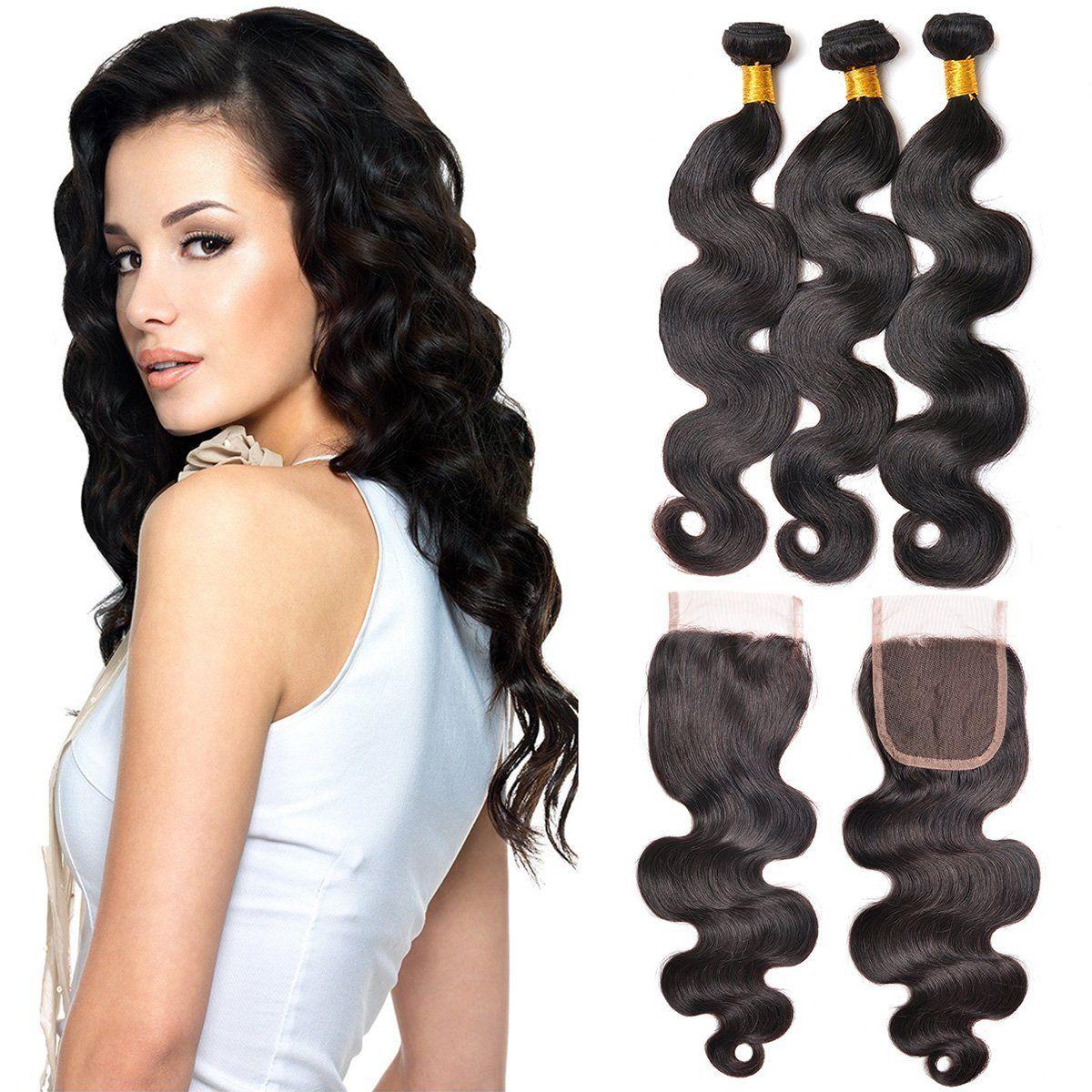 1020 Inch Virgin Brazlian Hair Loose Wavy 4*4 Three Part