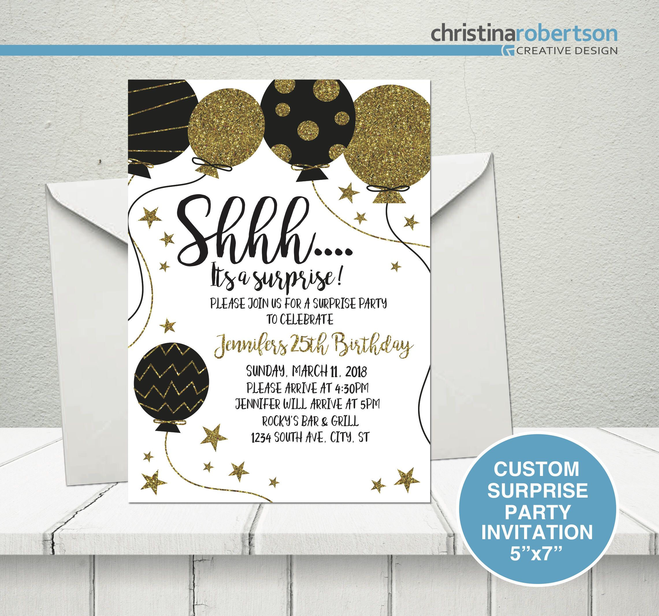 Excited To Share The Latest Addition My Etsy Shop Surprise Party Invitation Shhh Birthday Custom