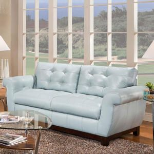 This Baby Blue Leather Sofa Is
