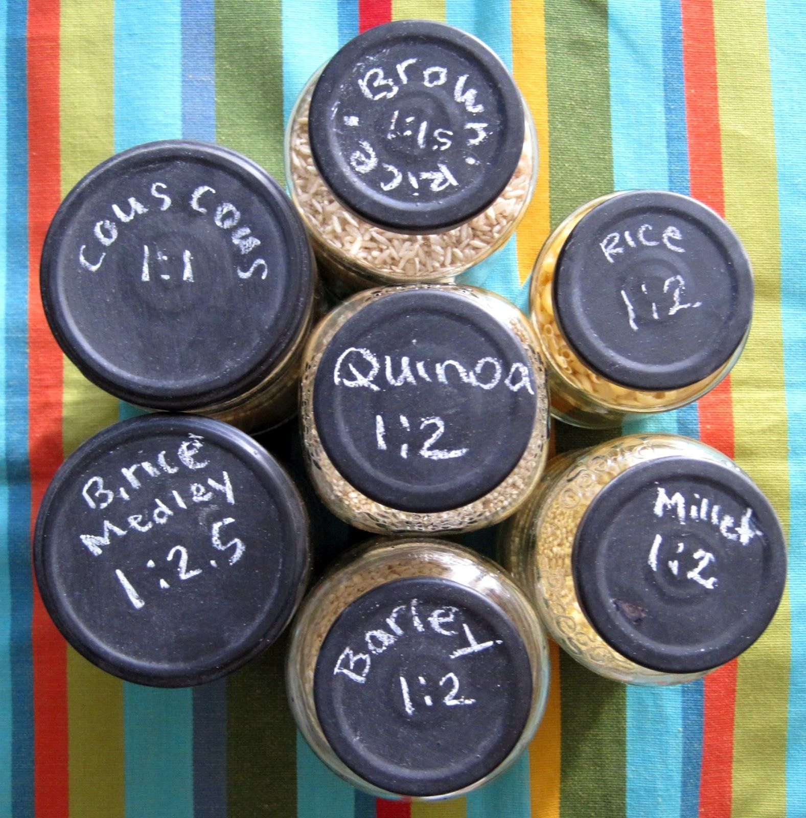 Chalkboard painted jar lids
