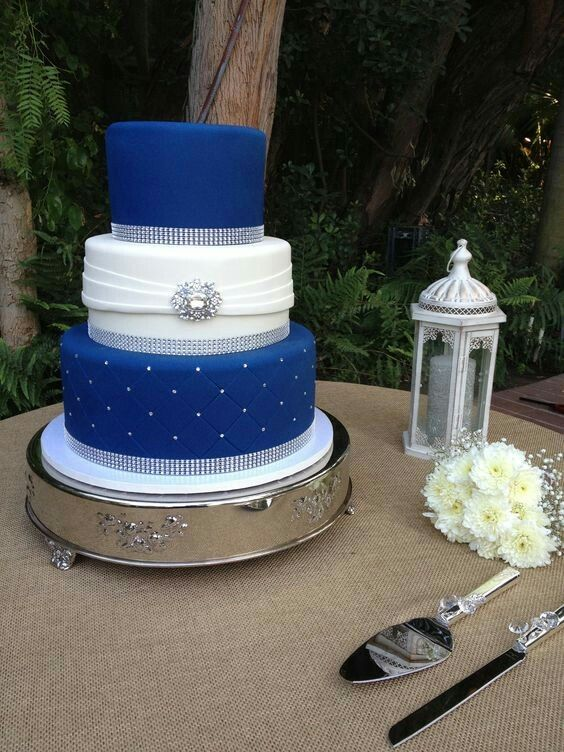 3 Tier With Bling Ribbon With Images Royal Blue Wedding Cakes
