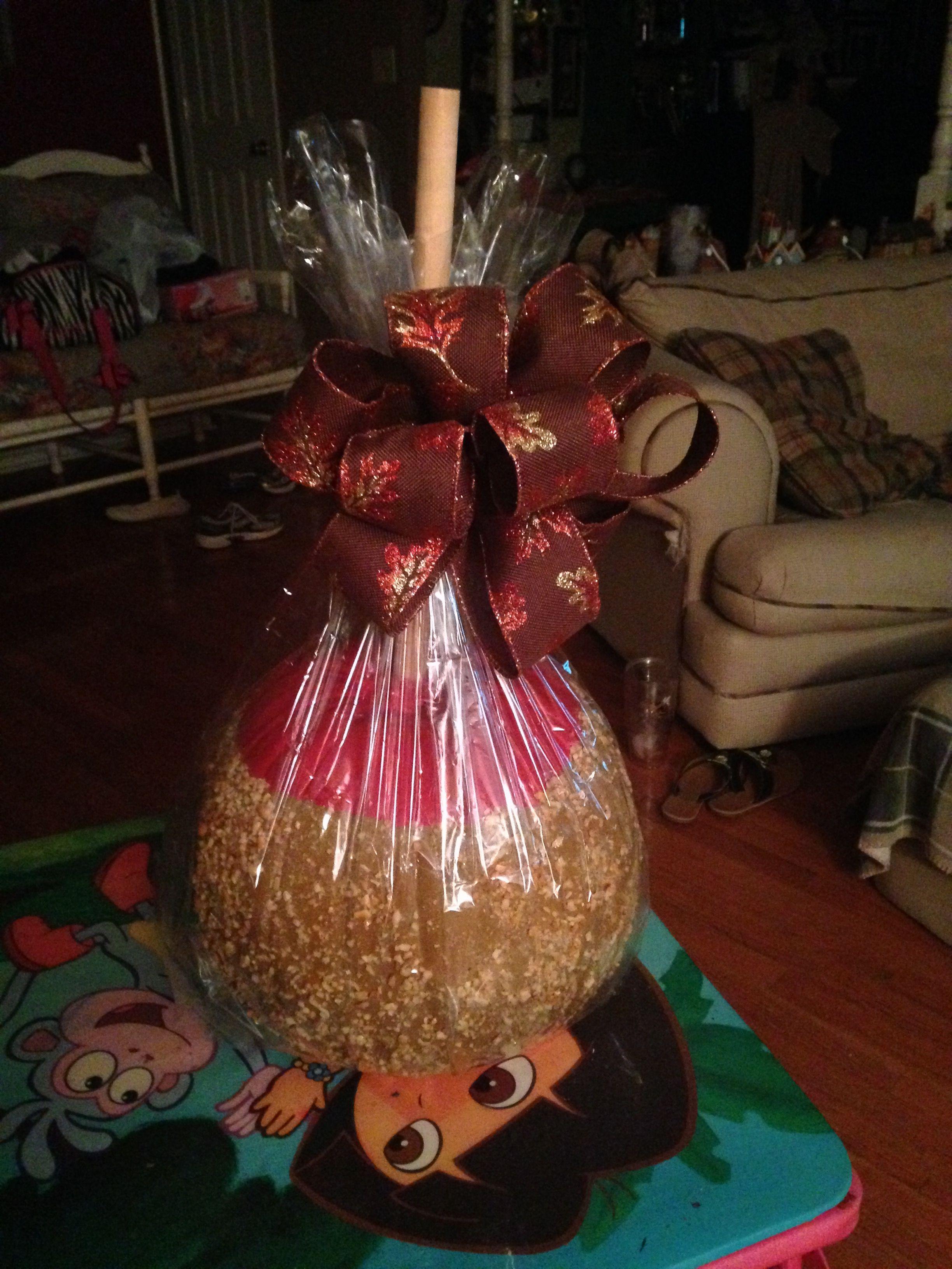Caramel apple pumpkin with nuts Pumpkin decorating