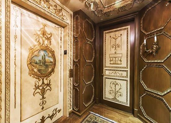 Ornamental And Decorative Painting On Elevator Doors And Walls By