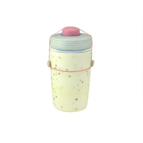 Utilitarian Ceramic Wares Vessel yellow with green lid