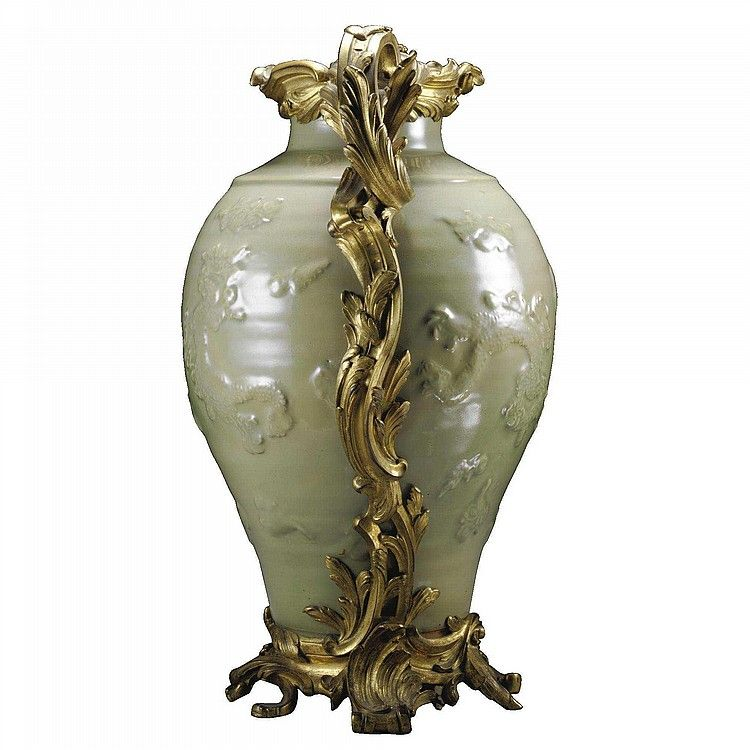 A GILT-BRONZE-MOUNTED CHINESE GREEN CELADON VASE IN LOUIS XV