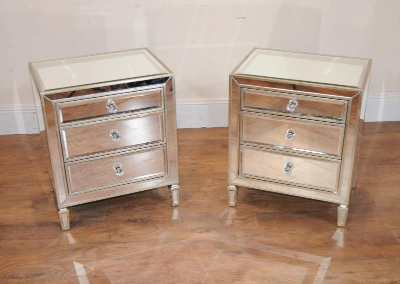Pair Mirrored Nightstands Bedside Chests Tables NY Apt Ideas