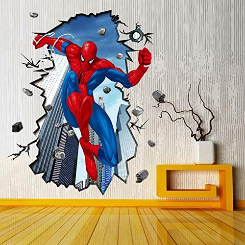 Huge Amazing 3D Spiderman Wall Stickers Boys Kids Bedroom Mural Art ...