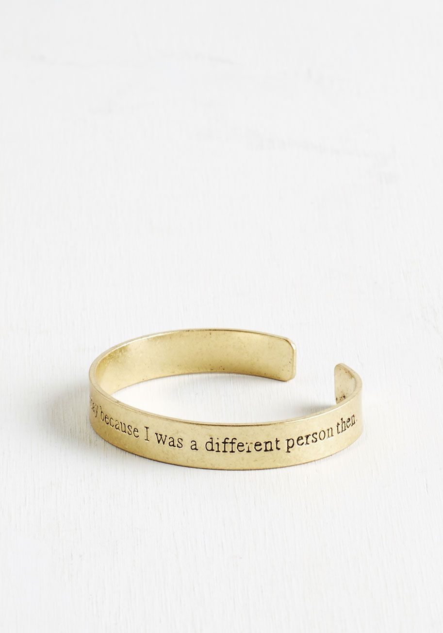 7d4e91c42 Wonderland of Whimsy Bracelet. Slip this thin gold cuff on your wrist and  feel your day become more fanciful! #modcloth
