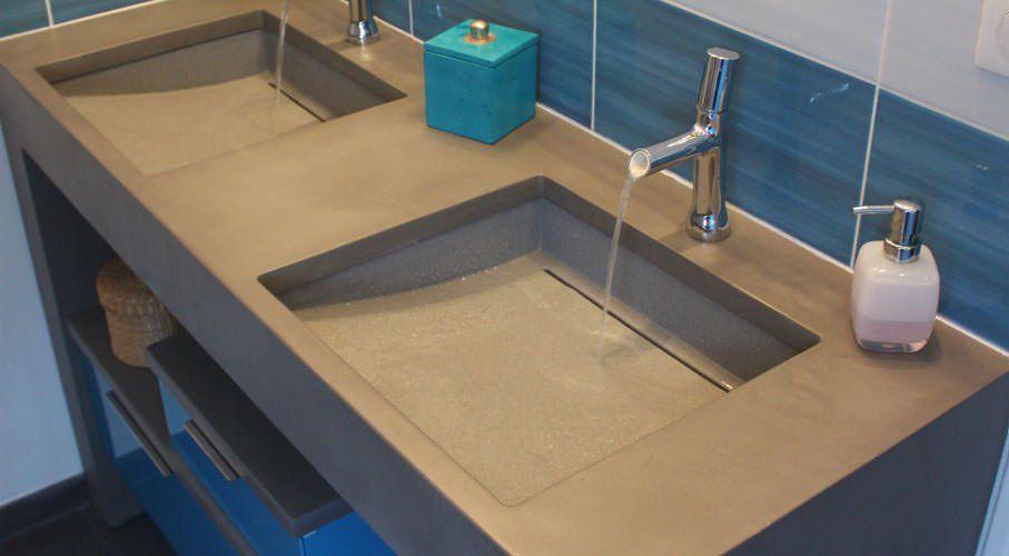 double vasque résine colle sous plan salle de bain