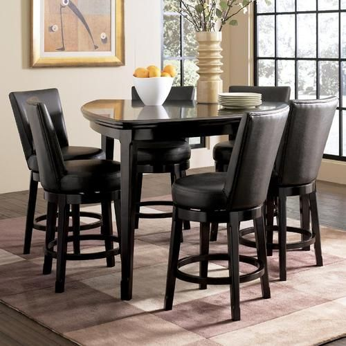 Millennium Emory 7 Piece Triangle Pub Table Set With 6 Upholstered Swivel Bar Stools Dining Room Table Set Tall