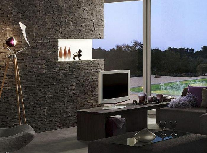 Einfach Steinwand Farbe ~ Steinwand im wohnzimmer klimex anthrazit farbe benevento