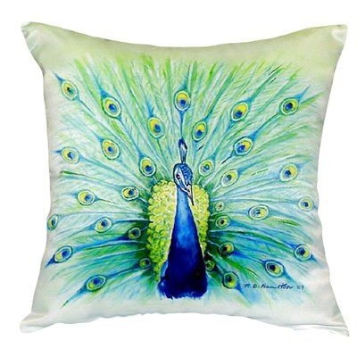 Betsy Drake Interiors Peacock Indoor/Outdoor Throw Pillow