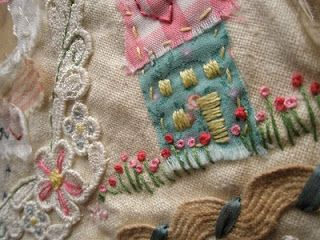 Primitive applique and embroidery from Madness and mess blog