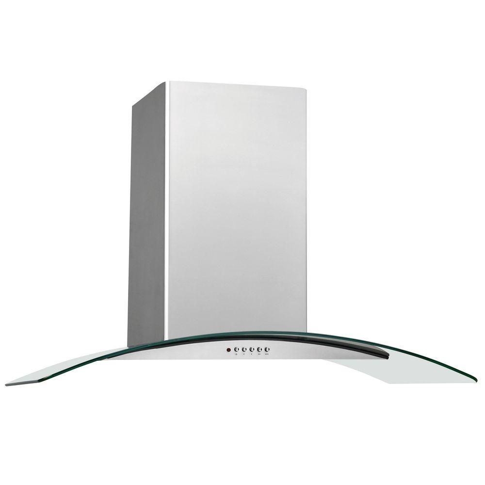 Frigidaire 36 In Convertible Wall Mount Chimney Range Hood In Stainless Steel With Glass Canopy Silv Stainless Range Hood Chimney Range Hood Glass Range Hood