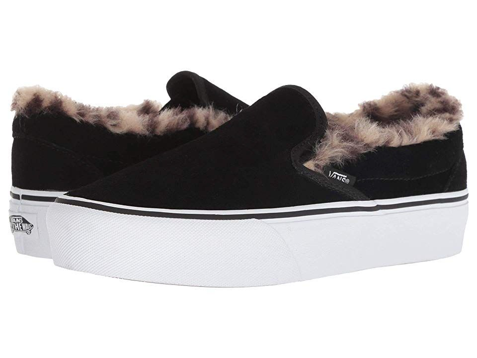 e0270b5b941c Vans Classic Slip-On Platform Slip on Shoes (Suede Fur) Black Leopard