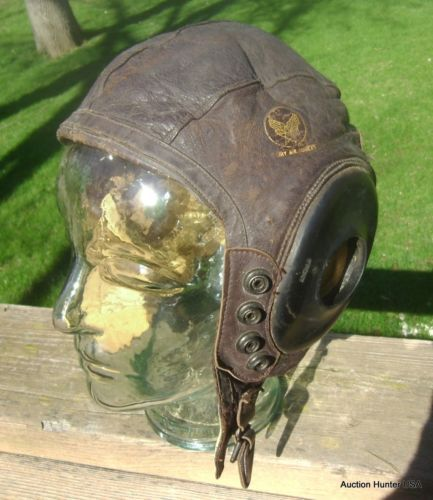 e0791f47096 Vintage WW2 US Army Air Forces Type A 11 Leather Bomber Pilot Flight Helmet  Cap