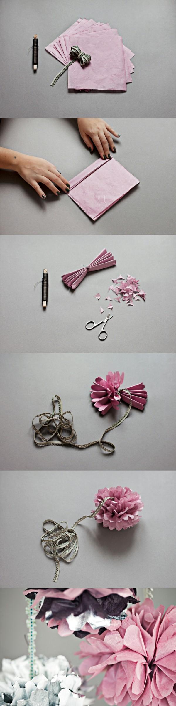 Pom pom paper flower  déco noël  Pinterest  Pom pom diy Hanging