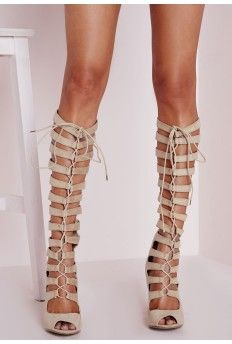 Heeled Knee High Gladiator Sandal Cream | sexiness | Pinterest ...