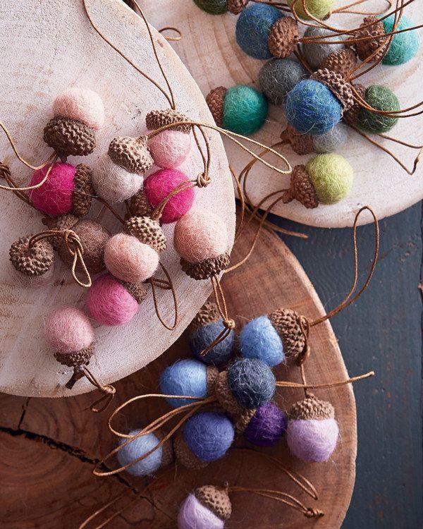 Wool Felt Acorn - Mini Ornament Set - from Artsy Modern