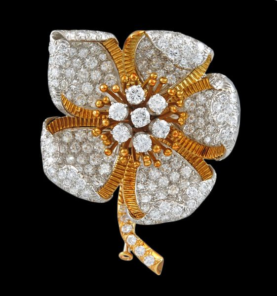 DAVID WEBB Diamond Flower Pin - Yafa Jewelry | Yafa Jewelry | Pinterest