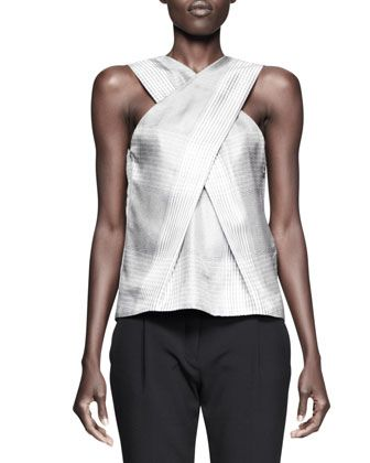 Alexander Wang Single-Snap Blazer, X-Drape Check Top & Pleat-Front Low Trousers - Neiman Marcus
