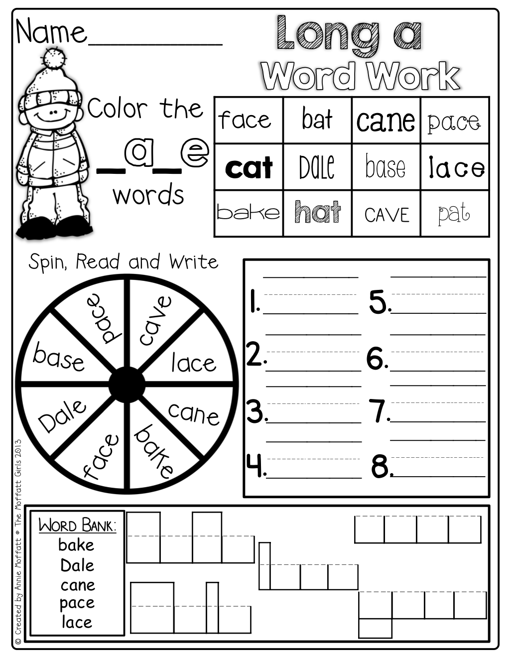 Long e coloring pages - Cvce Word Family Word Work