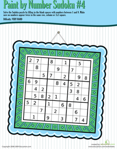 Paint by Number Sudoku 4   Number Puzzles - Sudoku   Math