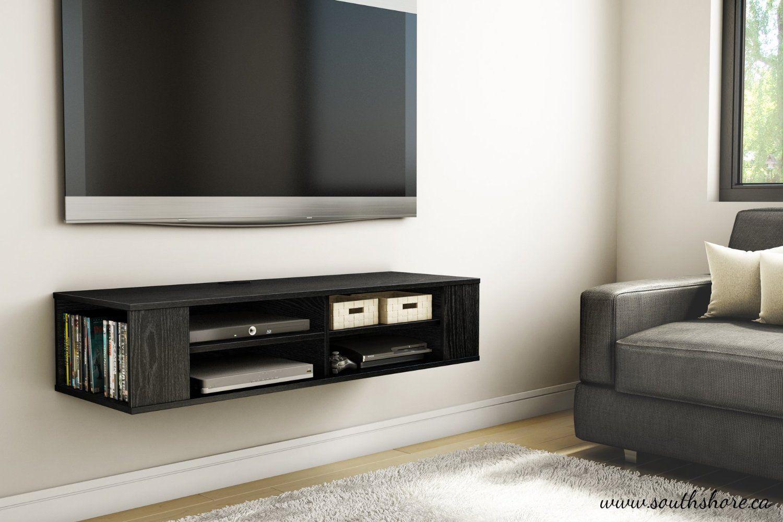 South S City Life Wall Mounted Media Console Shelf Black Oak Audio Video Component Shelves