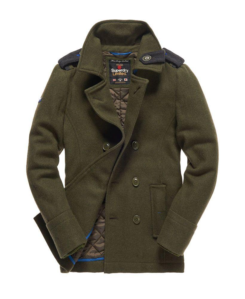 Mens Bridge Pea Coat In Army Mens Outfits Peacoat Men Men S Coats And Jackets [ 1000 x 820 Pixel ]