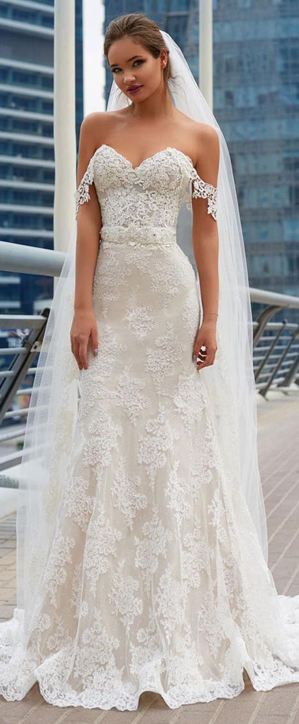 Fabulous lace offtheshoulder neckline mermaid wedding dress with