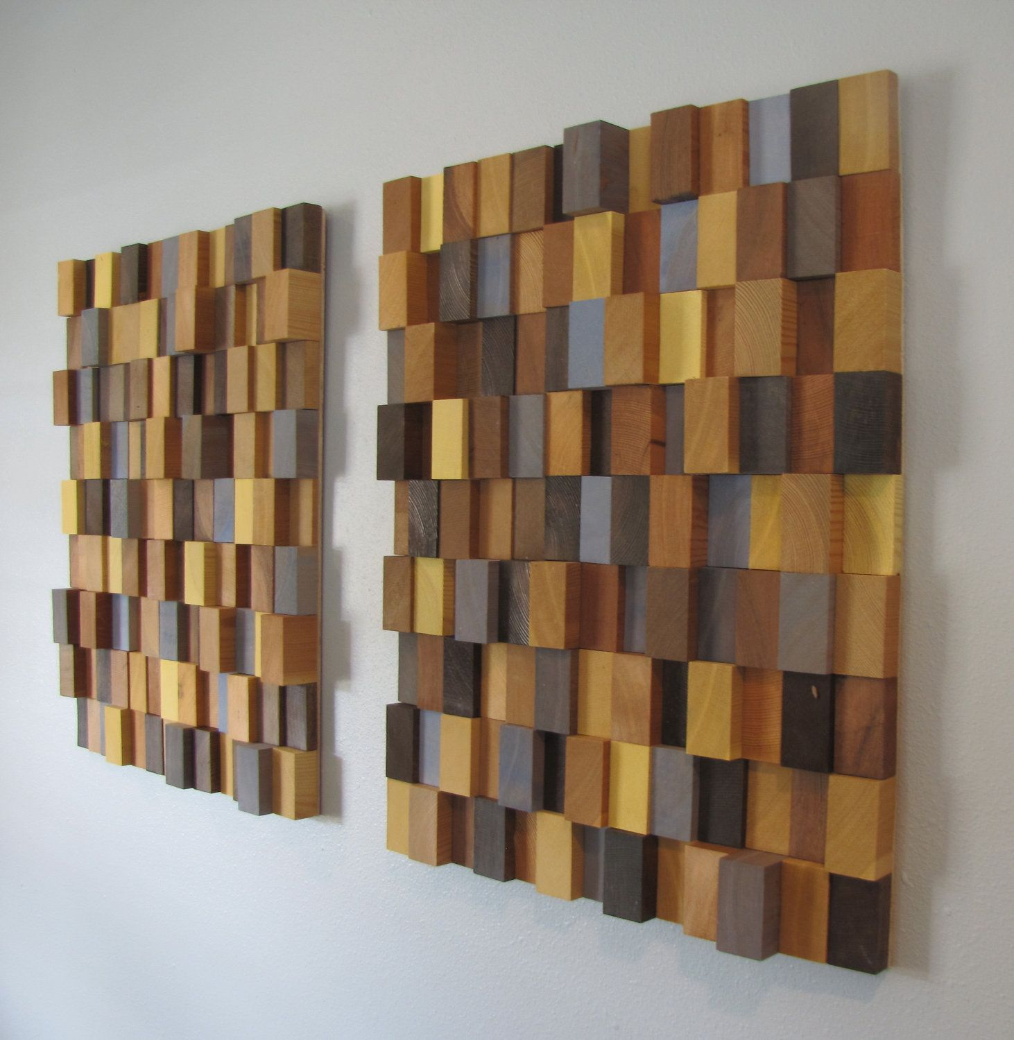 Wood Block Wall Wall Art Make Thinner Sections To Fit Each Stair With Colors To