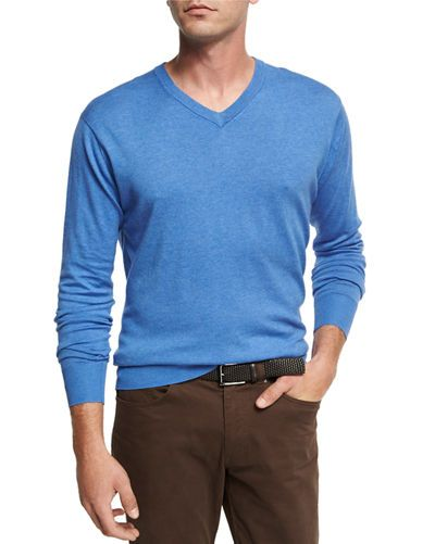 Peter Millar Crown Soft Cotton V-Neck Sweater, Parisian Blue ...