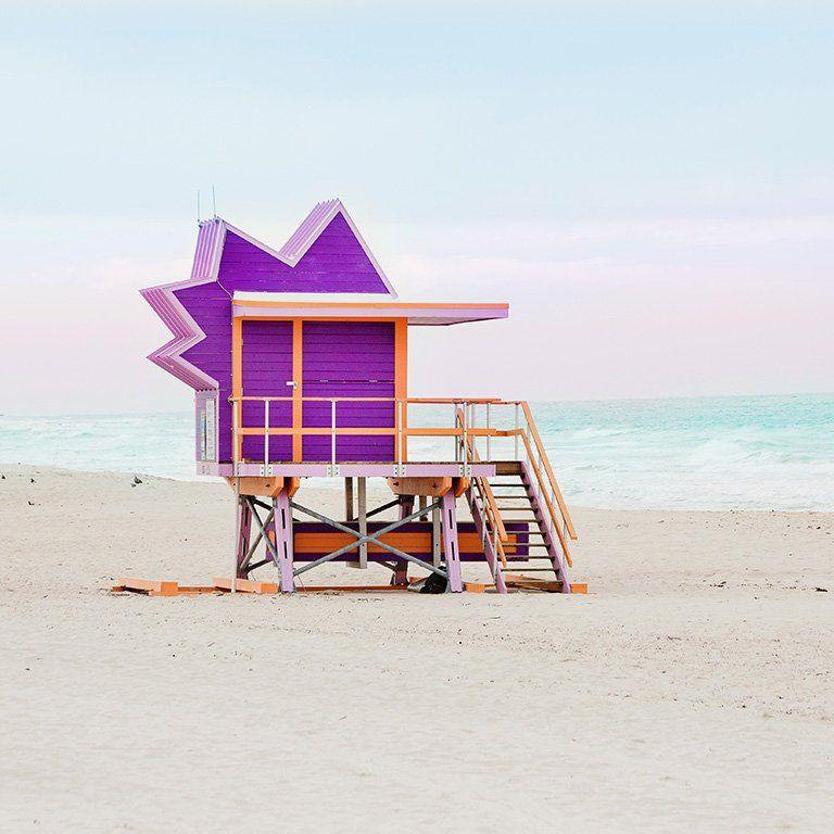 Purple Miami Beach Hut Art Deco Lifeguard Stand Wall Decor Beach