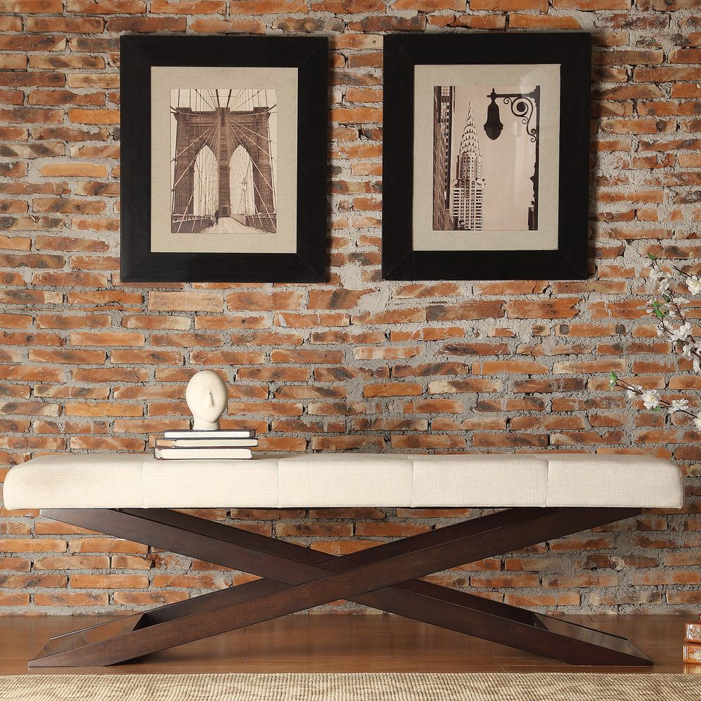 Bosworth Beige Linen Wood X Base Bench by iNSPIRE Q Classic by iNSPIRE Q