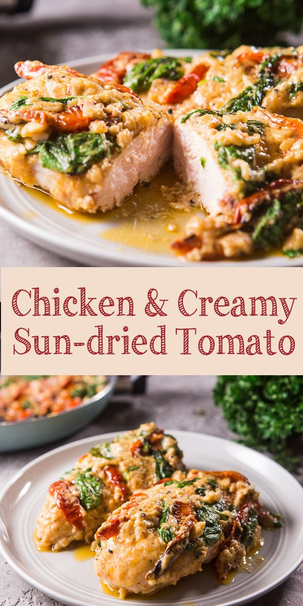 Chicken with Sun Dried Tomatoes Parmesan Sauce