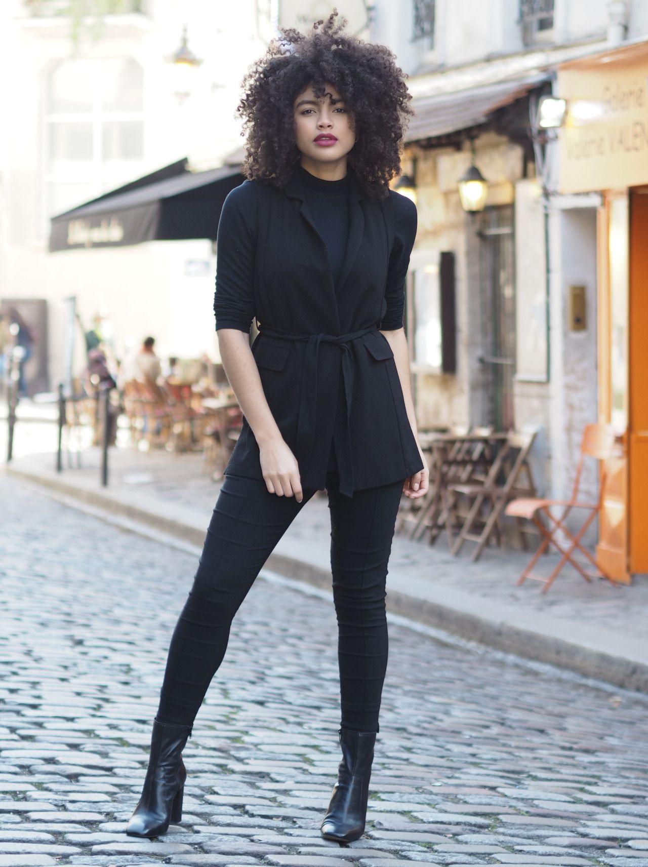 Black Skinny Trousers Heeled Boots Roll Neck Asos Sleeveless Jacket Similar