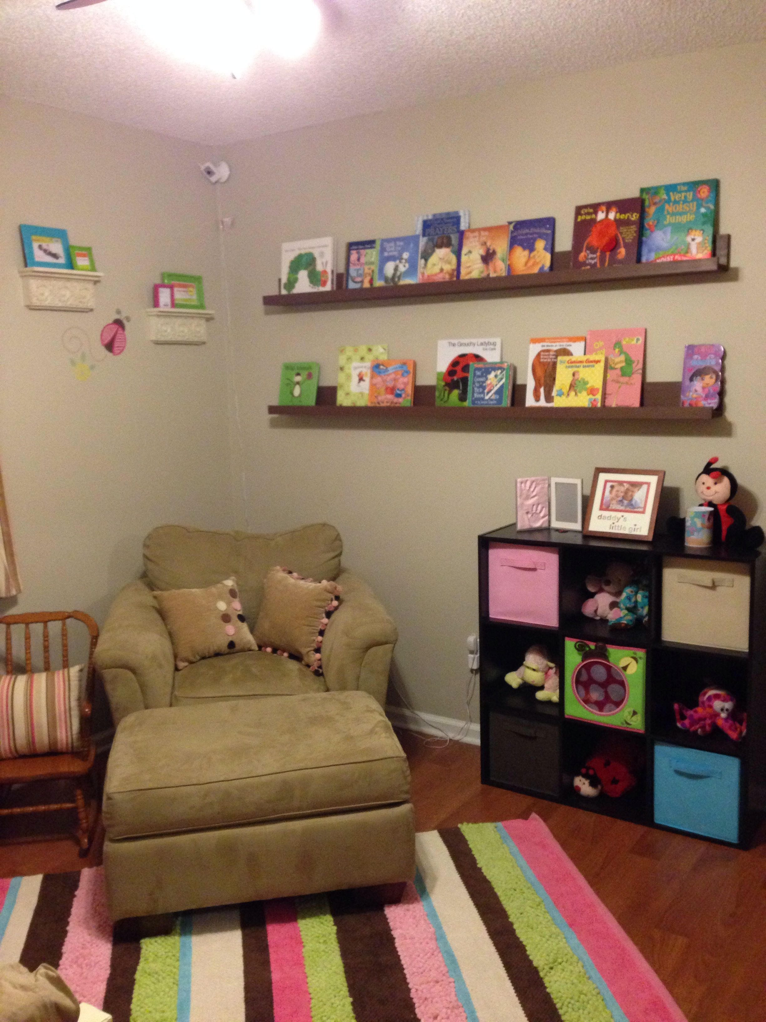 Handmade wall bookshelves to complete her reading nook hubby did an