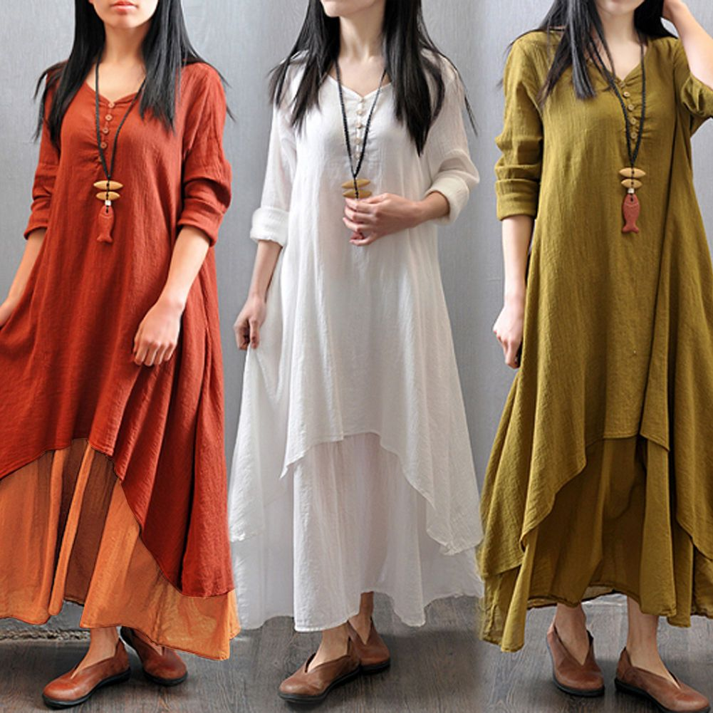 cf88a60bdcb5 Women Peasant Ethnic Boho Cotton Linen Long Sleeve Maxi Dress Gypsy Blouse  Shirt