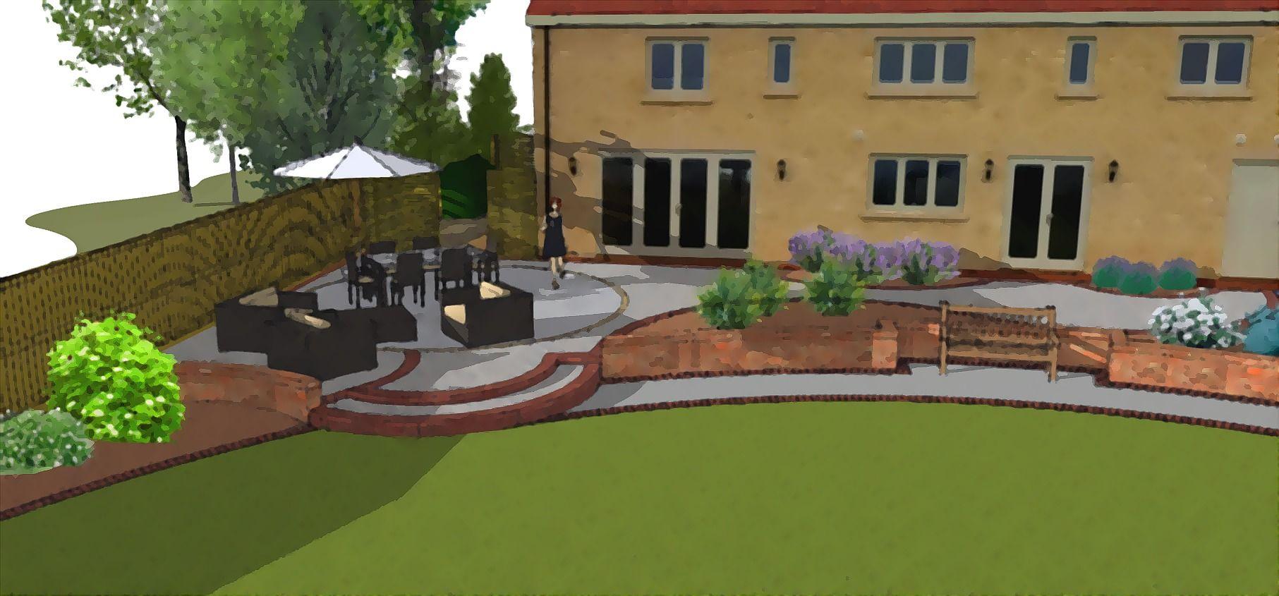 3D garden design for a Castle Eaton barn style new-build ...