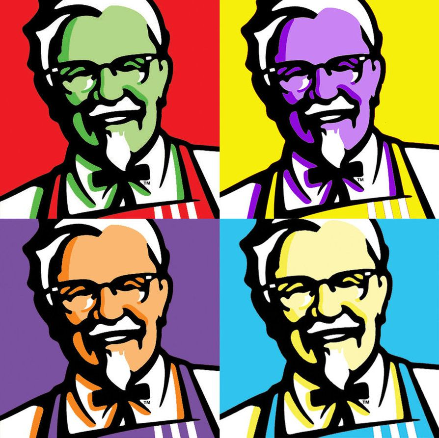- Pop art of KFC logo - I like how there are four copies ...