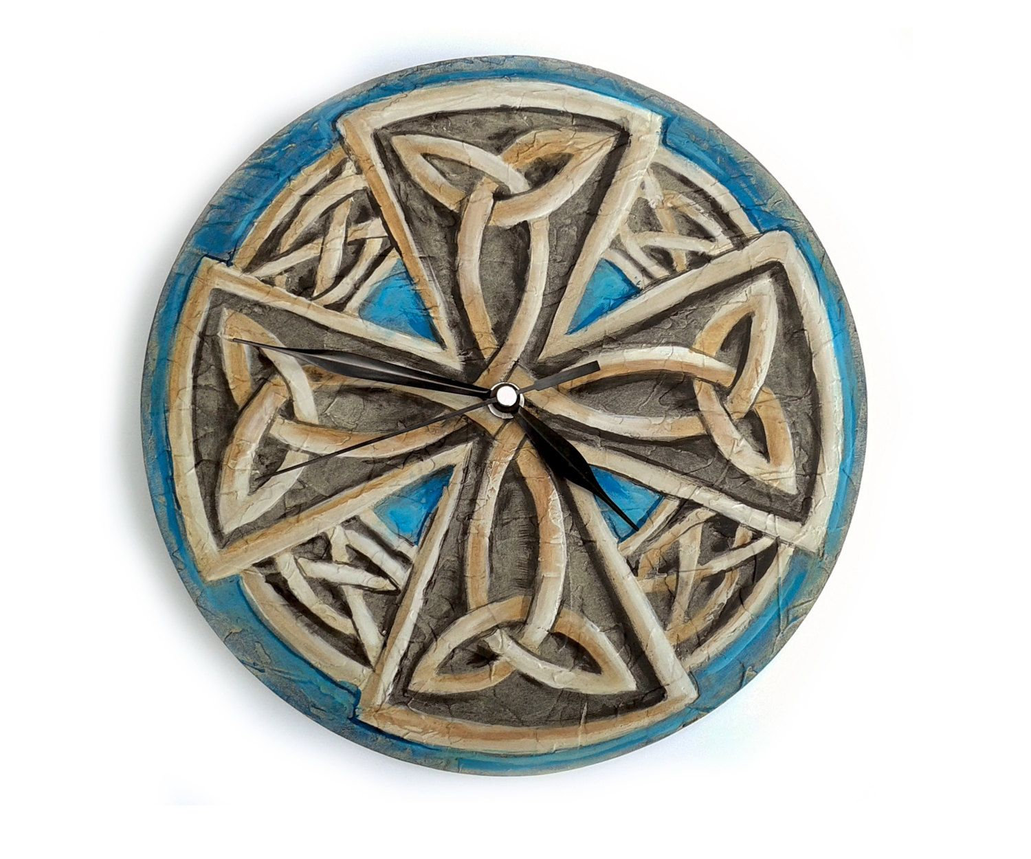 Celtic eternal knot wall clock viking cross painting by pilipart