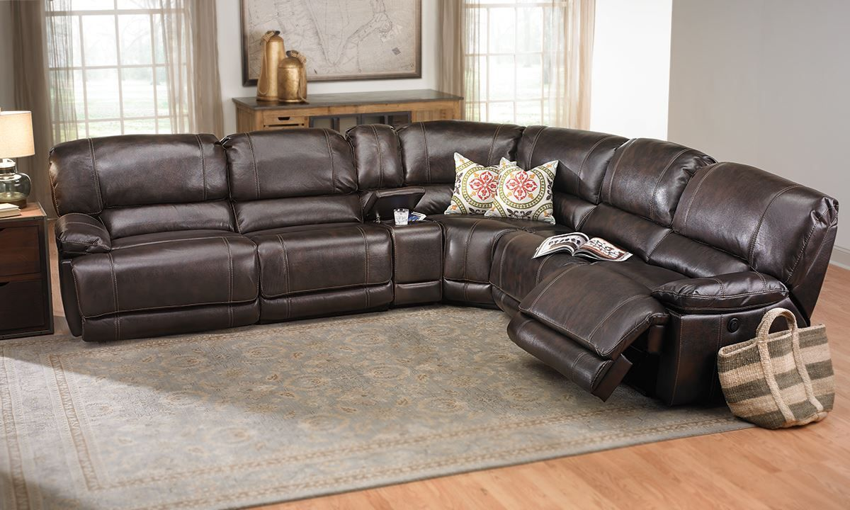Living Room Furniture Leather And Upholstery Power Reclining Storage Sectional Features Faux Leather Upholstery