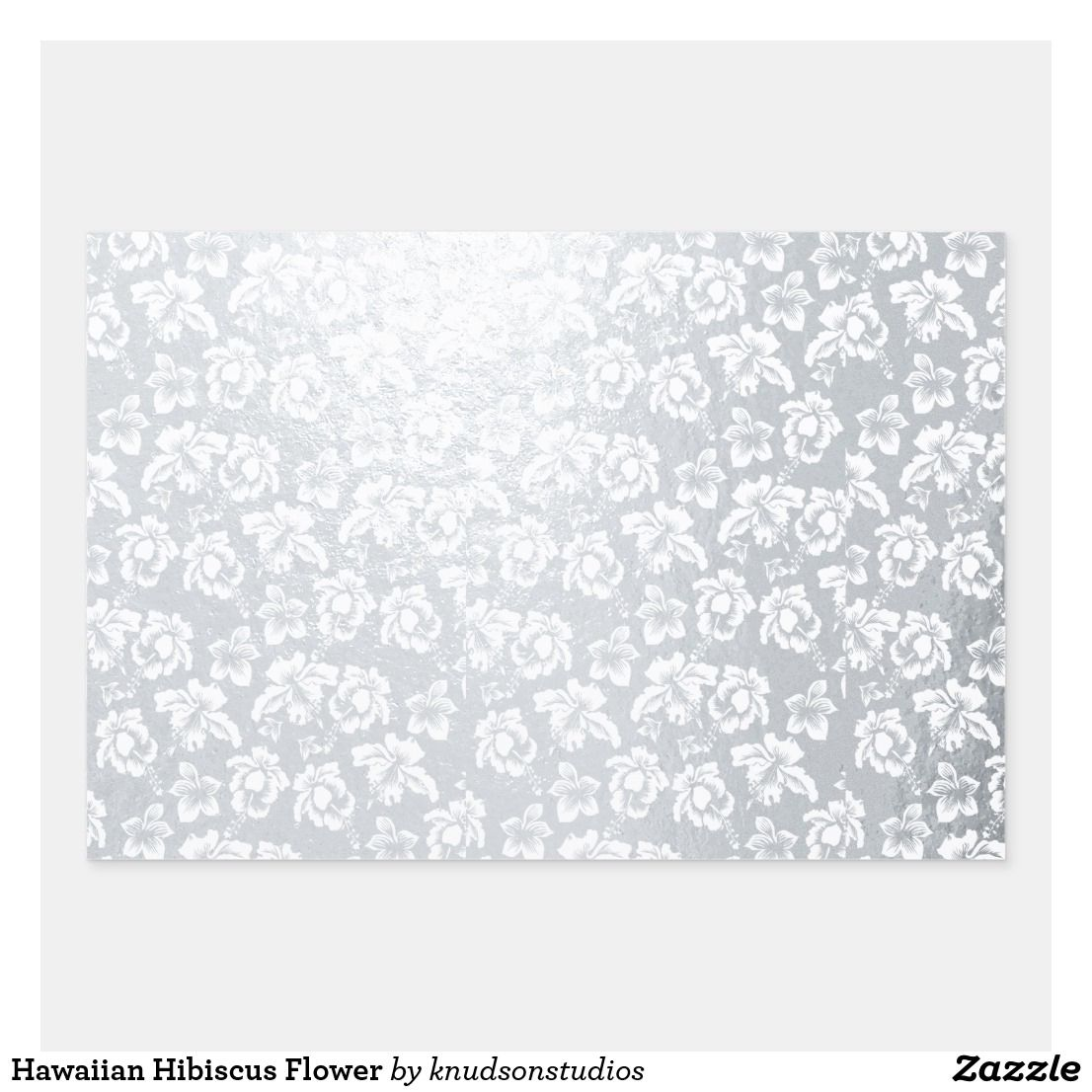 Hawaiian hibiscus flower foil wrapping paper sheets