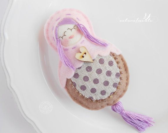 Polka dots Babushka  woolfelt doll with linen  by bynaturalmente