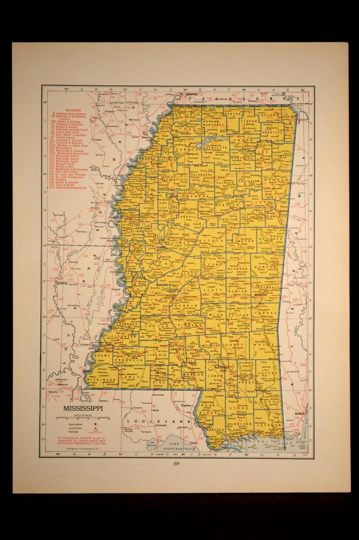 Railroad commissioneru0027s map of Mississippi Railroads
