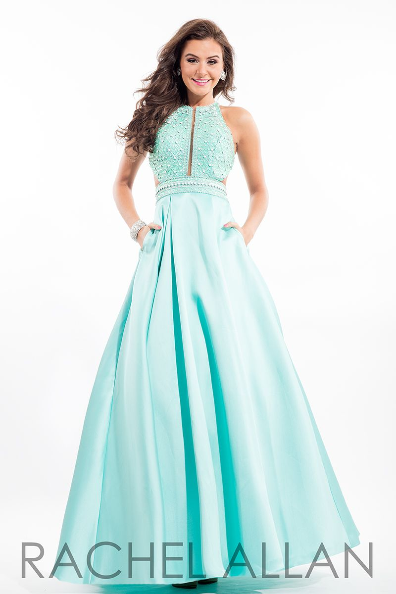 Rachel allan mikado prom ball gown with beaded top and racer