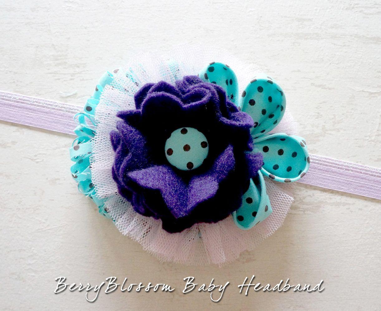 Berryblossom baby headband a violet felt flower with for Polka dot felt fabric